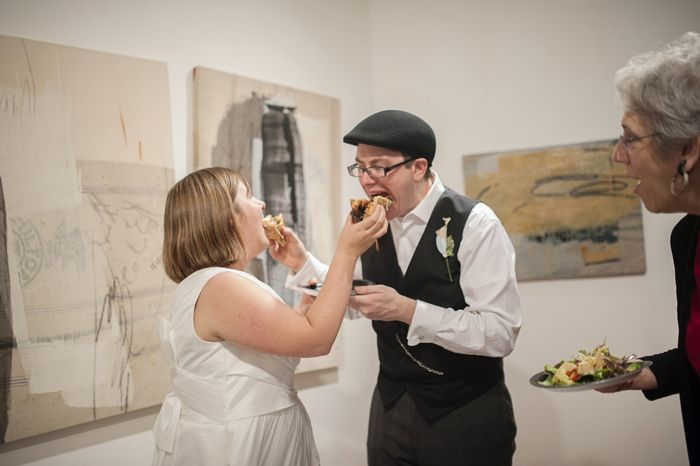 Instead of cake, this couple cut a pizza pie!   Dianne & William's offbeat, geeky DC wedding with a Pi Day theme!   Images: Maggie Winters Photography