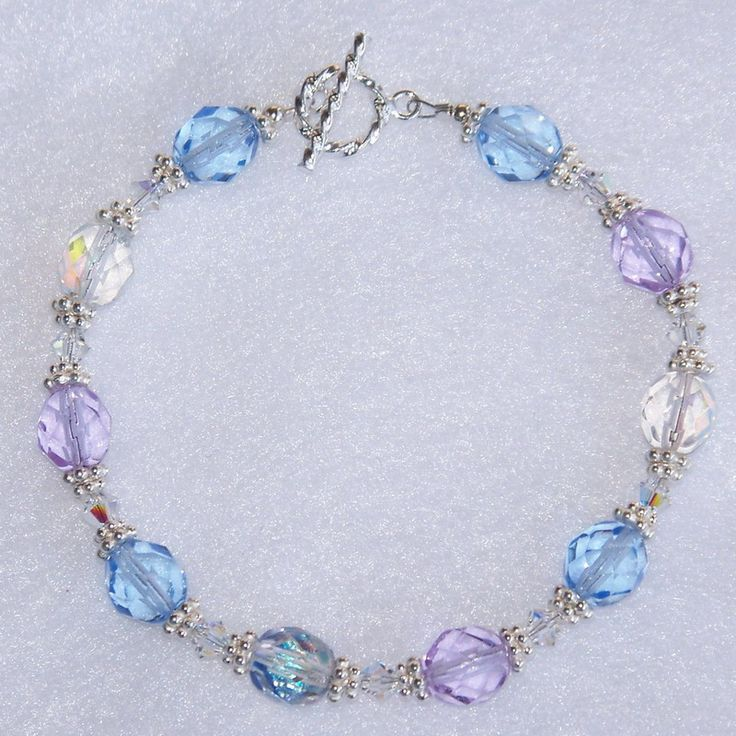 tranquil moments handmade beaded bracelet created with swarovski clear ab crystals - Beaded Bracelet Design Ideas