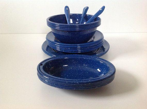 Vintage Speckeled Blue Enamel Dinnerware