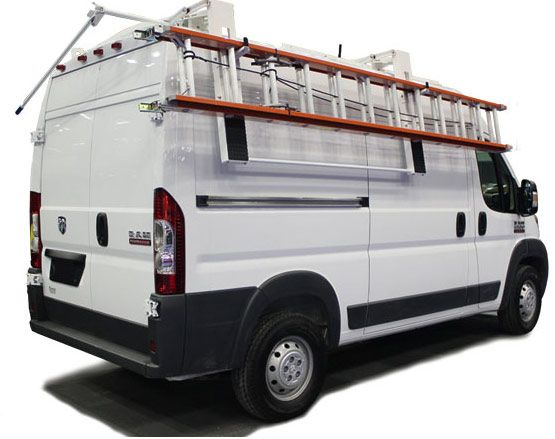SINGLE CURBSIDE DROP DOWN LADDER RACK FOR HIGH ROOF NV, PROMASTER, SPRINTER AND TRANSIT VANS • Truck Racks Plus $1000 sheckles