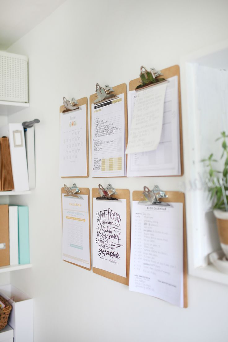 Wall inspiration - clipboard - DIY - home office inspiration - vallarina creative - valerie keinsley - handwriting - organizing ideas - paper goods - to do list - DIY office -