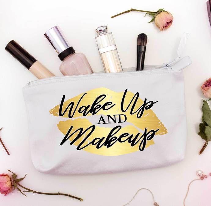 Wake Up And Makeup Cosmetic Bag Custom Makeup Bags Makeup Bags With Lips Custom Makeup Bags Diy Makeup Bag Personalized Makeup Bags