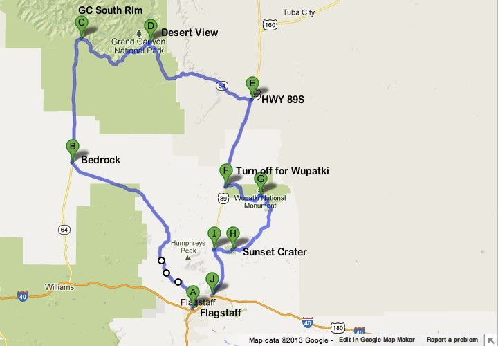 Road Trip Route Grand Canyon