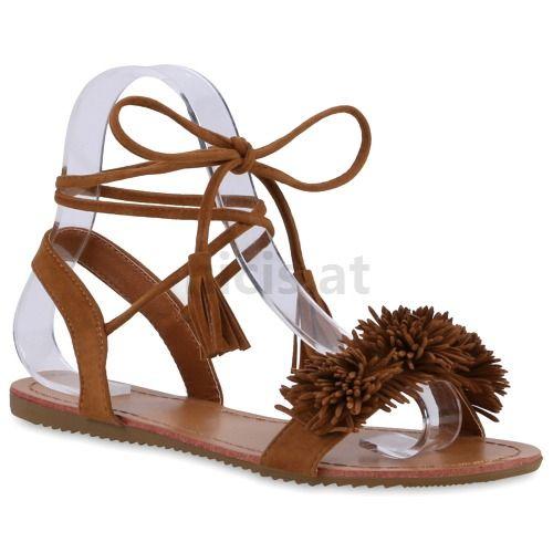 Schuhe Online Kaufen Günstig | Damen Sandalen Riemchen Sandalen - Hellbraun
