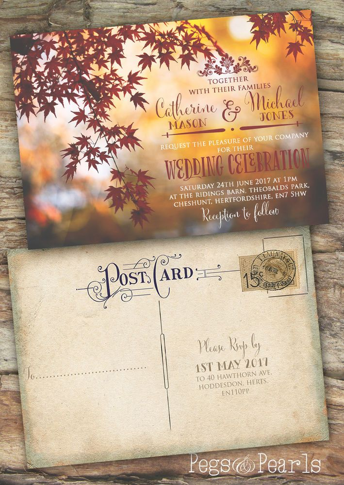 movie ticket stub wedding invitation%0A Personalised photographic autumn rustic postcard wedding invitations packs  of