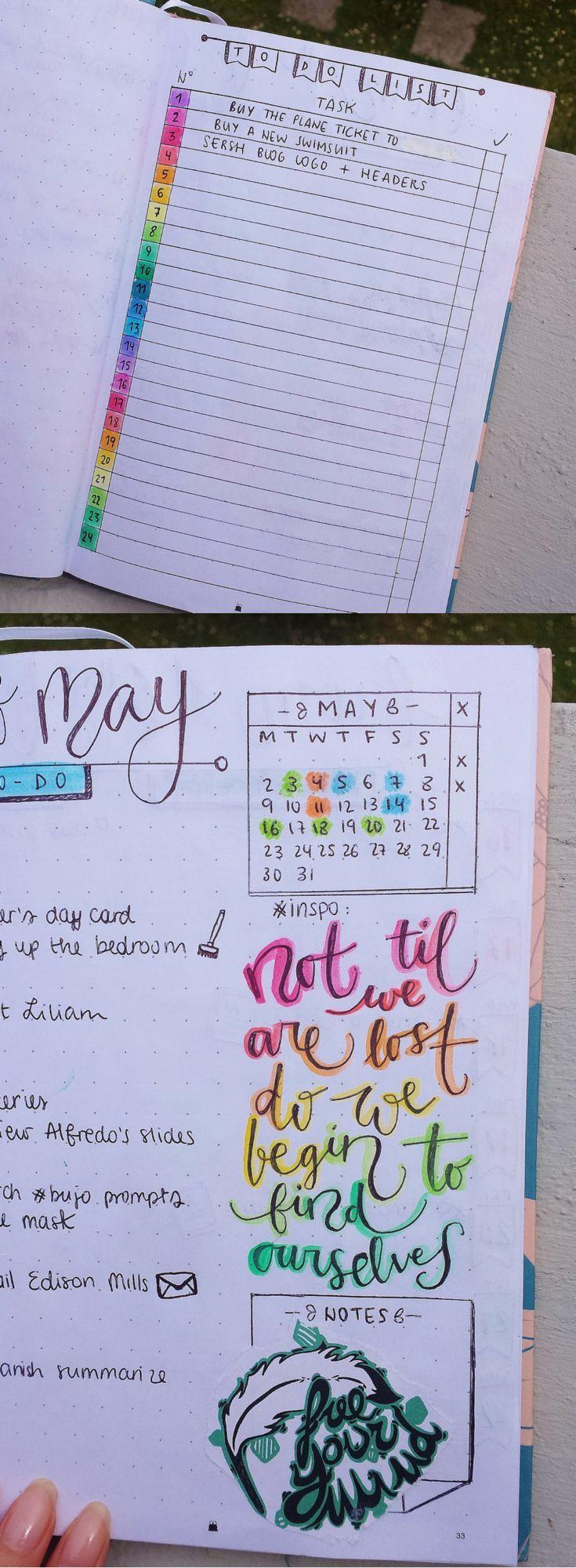 My bullet journal on https://samanthacarraro.wordpress.com/2016/05/16/bulletjournal-guide-inspo/   Bujo