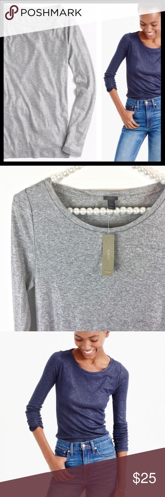 SOLD 💙 j. crew // metallic long sleeve silver tee Our classic T-shirt that's cut a little bit slimmer for a flattering (slash perfect) fit. This style features a metallic print for a slightly dressier look. Rayon/cotton. Long sleeves. Slim fit. Awesome for layering! Selling the silver colorway. Brand new with tags. ⭐️ Reduced from $25. J. Crew Tops Tees - Long Sleeve