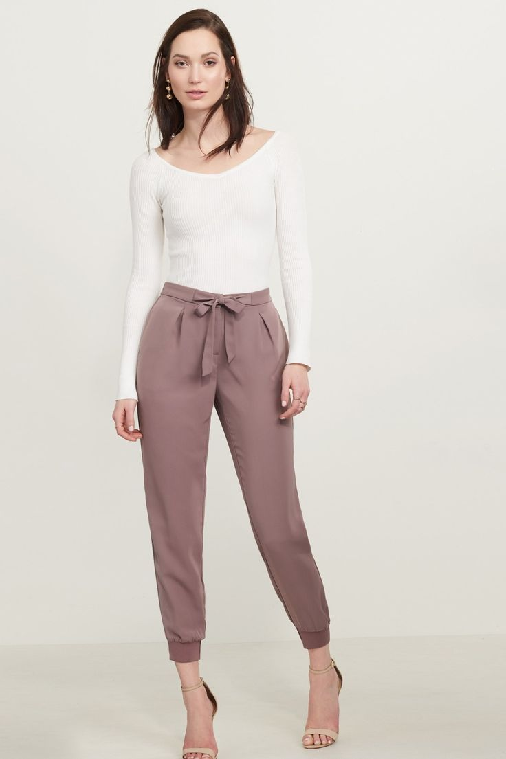 Prettiest pants ever.  Satin Jogger Pant with Knit Cuff