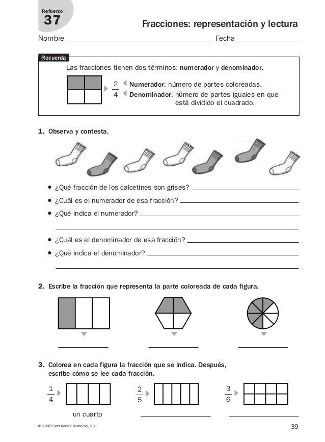 Refuerzo matematicas 4º primaria. | mat | Fracciones para primaria ...