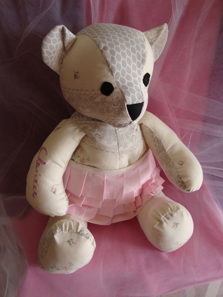Special memory bear handmade from the pillowcase a grandmother made for her granddaughter. The granddaughter's name is hand embroidered on the pillow case and featured on the teddy bear.