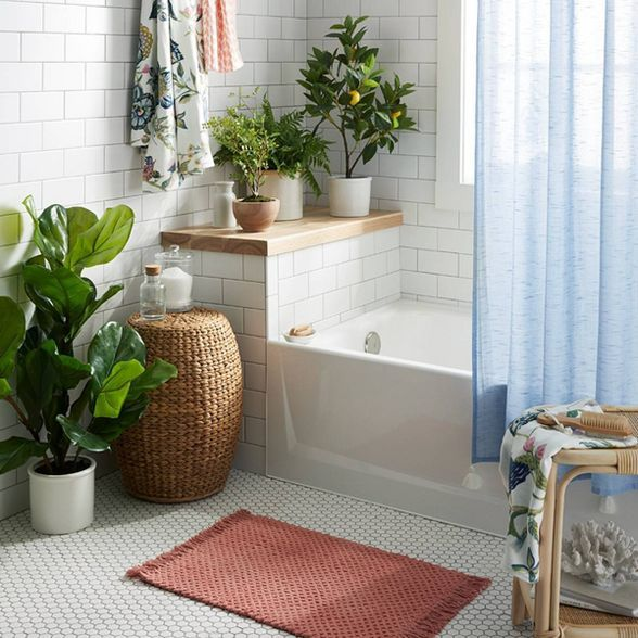 Textured Shower Curtain Blue Threshold In 2020 Bathroom