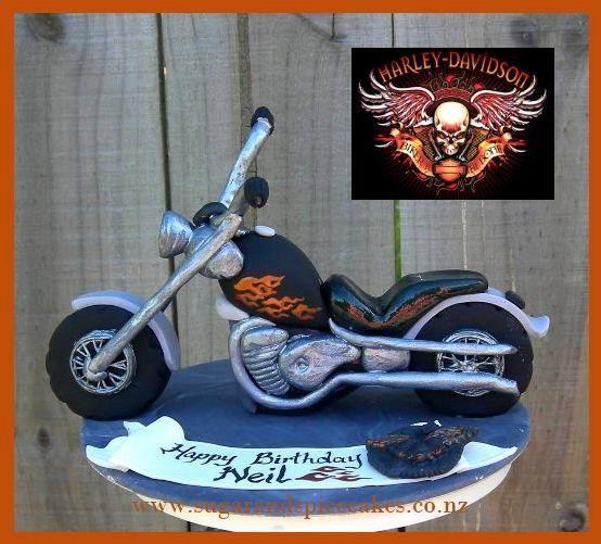 Motorcycle Harley Davidson Style Cake Topper Tutorial