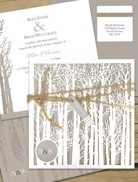 Endless Forest laser cut wedding invitation