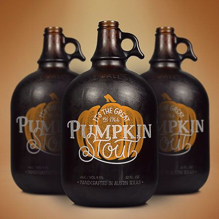 Pumpkin Stout Growler i like the natural look, the orange with the brown and the white text