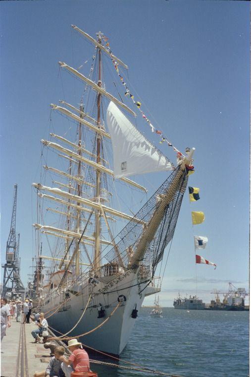 315051PD: Polish ship Dar Miodziezy, part of the Tall Ships voyage for Australia's Bicentennial Celebrations, at Fremantle, December 1987 https://encore.slwa.wa.gov.au/iii/encore/record/C__Rb3699263
