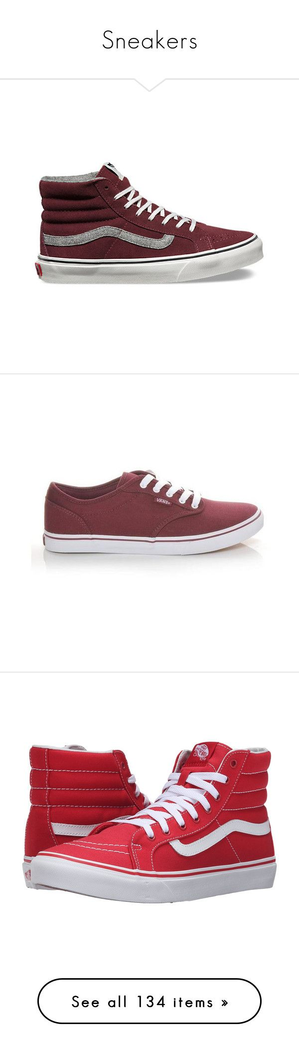 """""""Sneakers"""" by diana97-i ❤ liked on Polyvore featuring sneakers, shoes, red mahogany, vans high tops, red suede sneakers, suede shoes, red sneakers, red hi top sneakers, dressy shoes and low sneakers"""