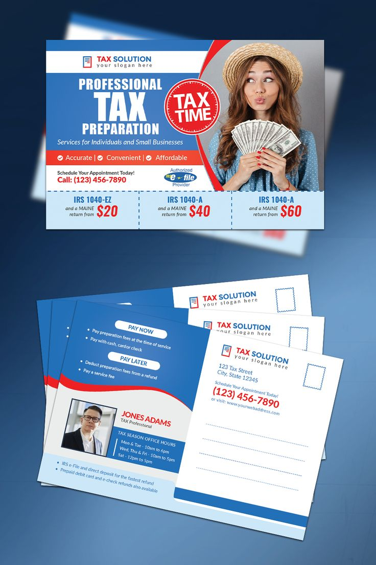 This Tax Time Postcard Template design is perfect for