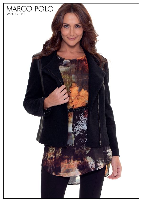 Embracing the colours of Autumn our stunning tunic is perfect for any occasion. Style with leggings and boots for all day comfort.  Please call 03 9902 5100 to locate your nearest stockist or shop online at http://www.marcopolo.net.au/ (Style Numbers: YTMW54009 L/S Landscape Tunic, YTMW85006 Pull On Ponte Pant )
