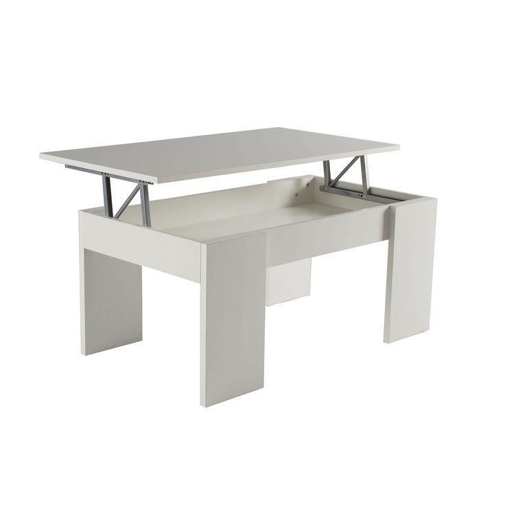 Mesa de centro elevable acabada en melamina blanca o roble. Medidas: 100x50x43cm
