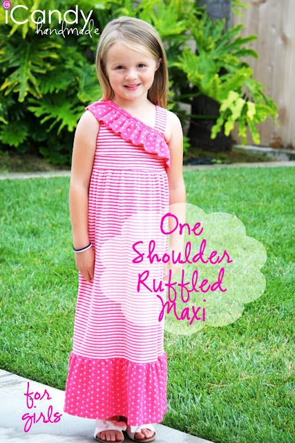 icandy handmade: (tutorial) One Shoulder Ruffled MaxiMaxi Dresses, Sewing Projects, Shoulder Ruffles, Maxis Dresses, Icandy Handmade, One Shoulder, Sewing Ideas, Girls Clothing, Ruffles Maxis