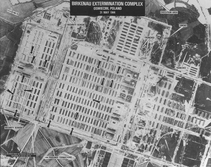An aerial view of Auschwitz, one of Hitler's most well-known concentration camps.