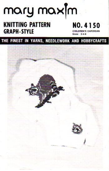 mary maxim 4150, childrens cardigan, sizes 2 to 6, in great condition, cute racoon