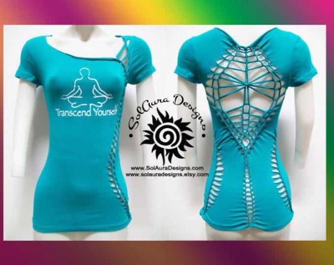 TRANSZENDIEREN - Junioren / Frauen geschnitten und gewebt Shirt, Yoga-Bekleidung, Strandbekleidung tragen, Partymode, Zen