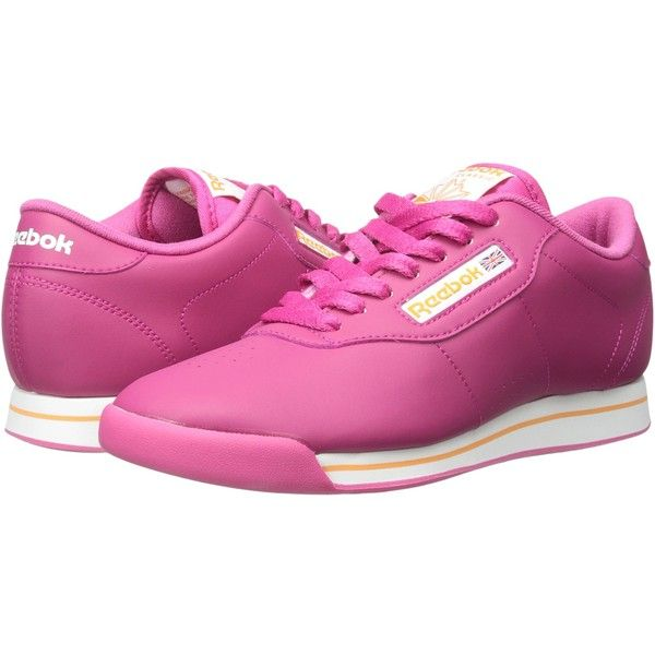 Reebok Princess (Condor Pink/White/Maximum Orange) Women's Running... ($35) ❤ liked on Polyvore featuring shoes, sandals, pink, laced shoes, pink white shoes, laced up shoes, print shoes and pink shoes
