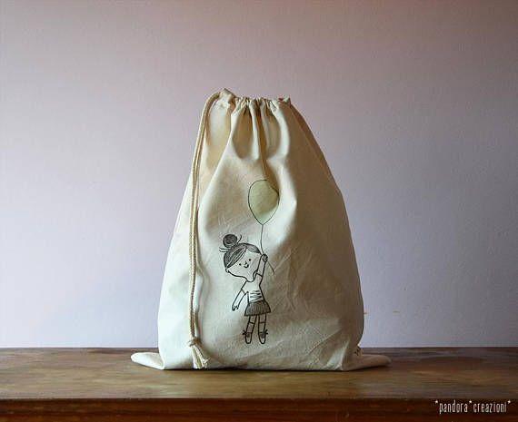 sacca in cotone con coulisse // stampata a mano // bimba con palloncino colorato * drawstring bag // cotton // hand-printed * pandora creazioni
