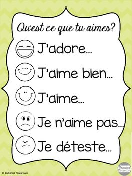These French discussion posters are the perfect way to get students talking about their likes and dislikes. This can be used to share personal preferences such as favourite foods, sports, memories, or can be used to reflect on learning, for example reading responses.