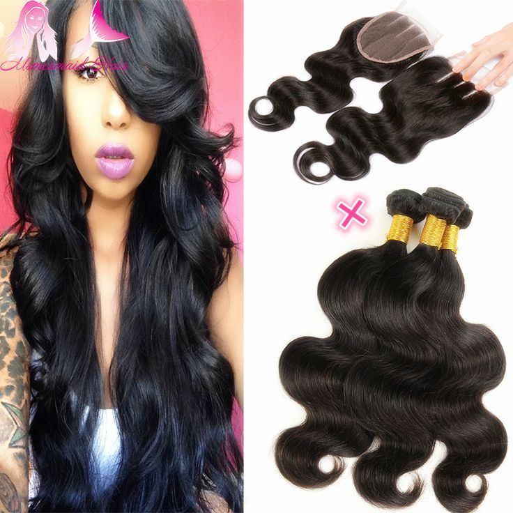 Grade 7A Human Hair Bundles With Closure Brazilian Virgin Hair Weave With Closure Brazilian Body Wave Hair Style With Closure