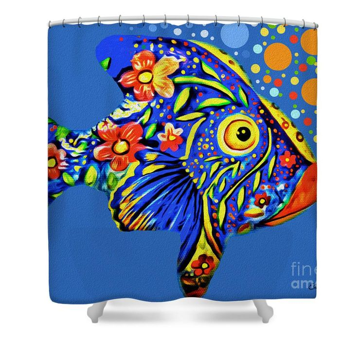 Tropical Fish Shower Curtain by Eleni Mac Synodinos