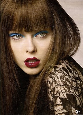 Blue eye shadow, bold lips: Fat Burning Food, Hair Colors, Makeup Tools, Fashion Models, Red Lips, Cocorocha, Weights Loss Tips, Coco Rocha, Lips Colors