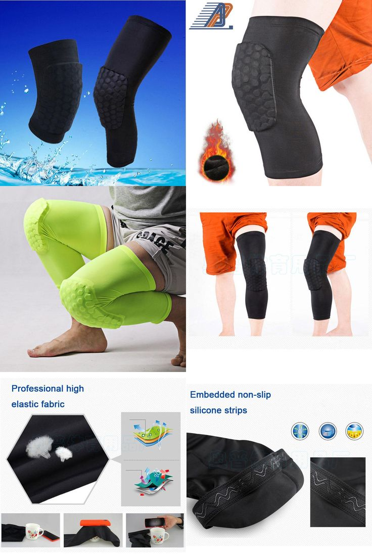 [Visit to Buy] Lengthen Hex Sponge Knee Pads Leg Compression Sleeve Kneepad for Basketball Sport Safety Collision Avoidance Knee Support Guard  #Advertisement