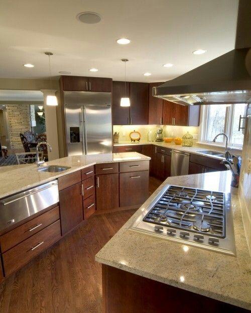 C Shaped Kitchen Design Ideas: Kitchen, Love Odd Shape, Curved Lines & Warming Drawer