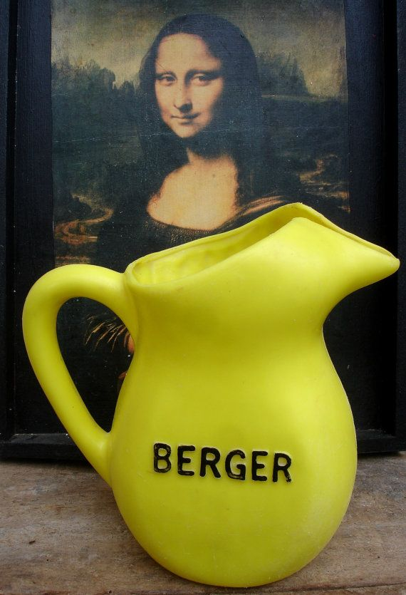 French vintage yellow Berger Anisette water pitcher plastic
