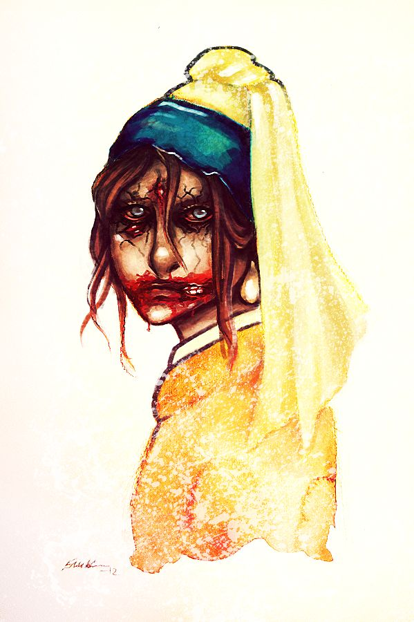 Zombie Girl With a Pearl Earring by paradoxyears.deviantart.com on @deviantART