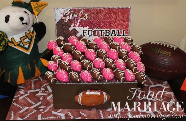 Pink Glitter Football Cake Pop Display for Girls Fantasy Football Draft Party @BA Haggerty / FoodMarriage.com