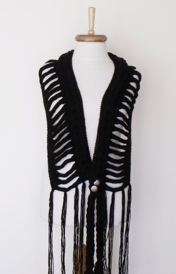 Free Shipping-Black Wool Rapunzel Scarf Ready for by knittingshop