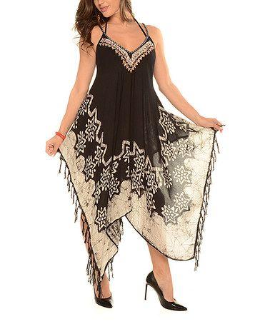 Love this Black Floral Tie-Dye Handkerchief Dress - Plus on #zulily! #zulilyfinds