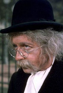 """Arte Johnson as Tyrone F. Horneigh, the white-haired, trenchcoat-wearing """"dirty old man"""" who repeatedly sought to seduce Gladys Ormphby. (Laugh-In)"""