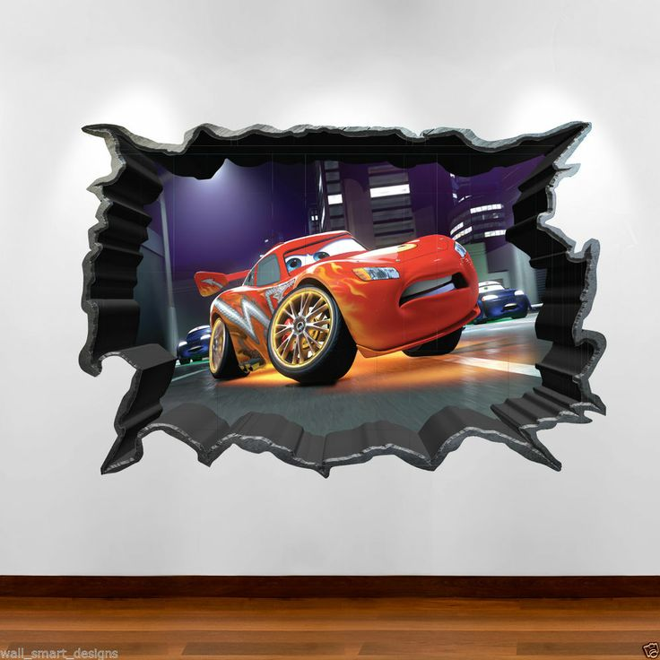 Details About Cars 3D Cracked Disney Full Colour Wall Art