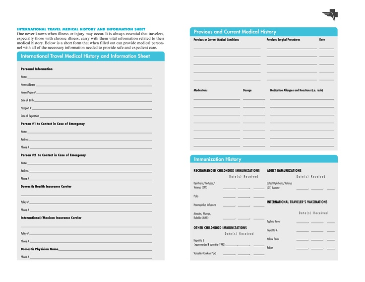 personal medical record forms