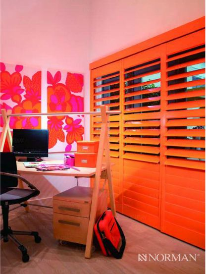 WOW! Orange! Great idea for teen's room or MY home office (hint, hint). Definitely not your Grandma's Plantation Shutters. These are one of Norman's great products. Call us out for a measure and lets get these installed.