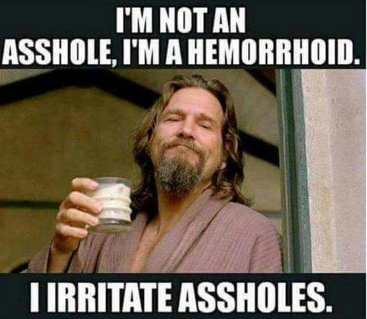 I'm not an asshole, I'm a hemorrhoid