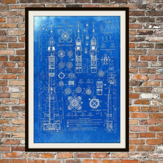 The 25 best blueprint art ideas on pinterest blueprint font us soyuz rocket russian blueprint art of the russian soyuz rocket technical drawings engineering drawings patent blue print art item 0103 malvernweather Gallery