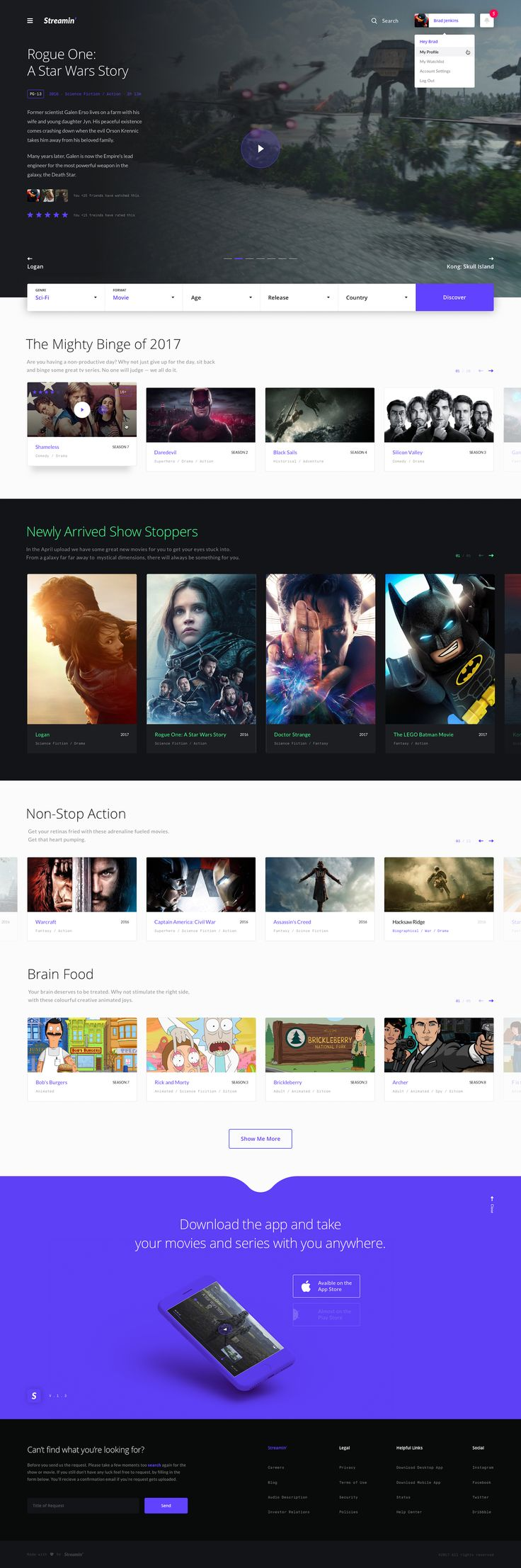 This is a concept design I worked on for a paid for streaming service: Streamin', inspired by Netflix and other legal and not so legal streaming sites. To avoid overwhelming the user with hundreds of content thumbnails, I wanted the layout direction to be more spacious and instead broke it up into clean, organised and packaged sections.