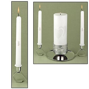 "Taper Candles (two 8.5"") Linked at the Heart silver Collection"
