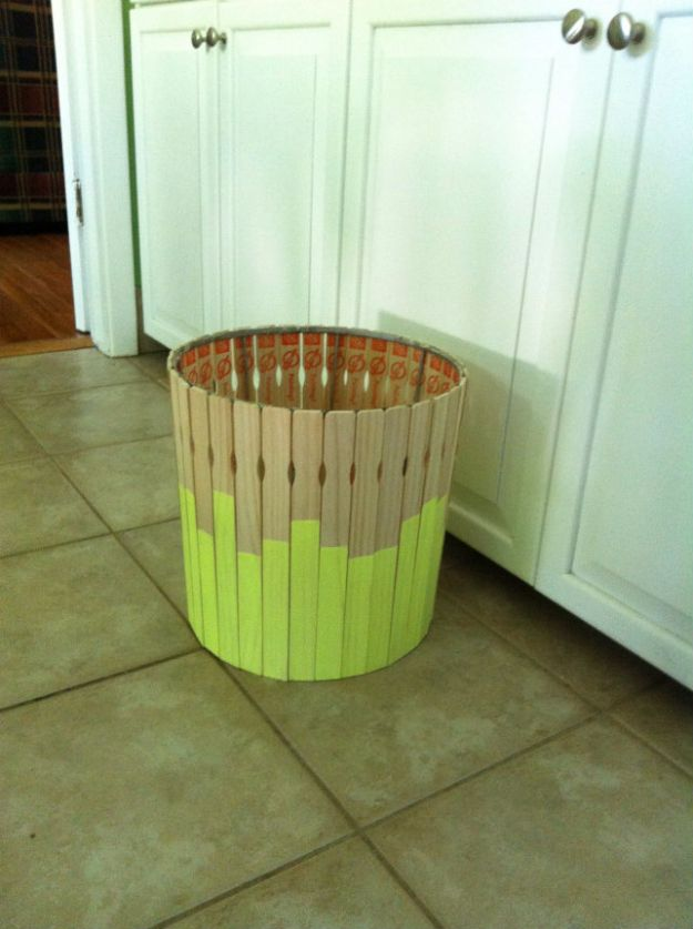DIY Projects Made With Paint Sticks - DIY Paint Stick Trash Can - Best Creative Crafts, Easy DYI Projects You Can Make With Paint Sticks From The Hardware Store - Cool Paint Stick Crafts and Furniture Project Tutorials - Crafty DIY Home Decor Ideas, Wall Art and Furniture That Make Awesome DIY Gifts and Christmas Presents for Friends and Family http://diyjoy.com/diy-projects-paint-sticks