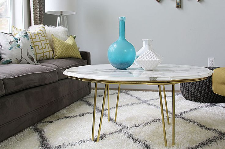 DIY MARBLE TOP COFFEE TABLE.  Tutorial for how to make this mid-century modern style marble coffee table | withHEART.com